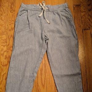 Cuffed Hem railroad stripe linen blend crop pant